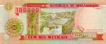 P139 Mozambique 100.000 Meticaos Year 1993