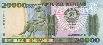 P140 Mozambique 20.000 Meticaos Year 1999