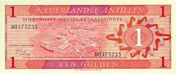 P20 Netherlands Antilles 1 Gulden Year 1970