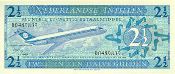 P21 Netherlands Antilles 2 1/2 Gulden Year 1970