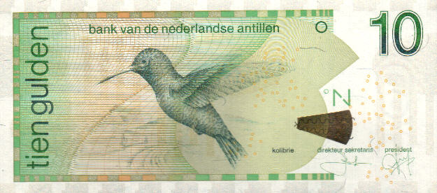 P28g Netherlands Antilles 10 Gulden Year 2014