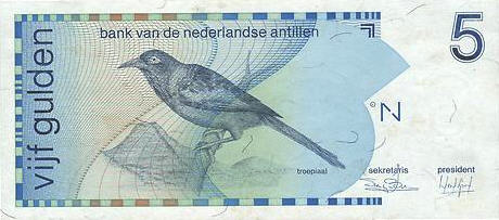 P22 Netherlands Antilles 5 Gulden Year 1986