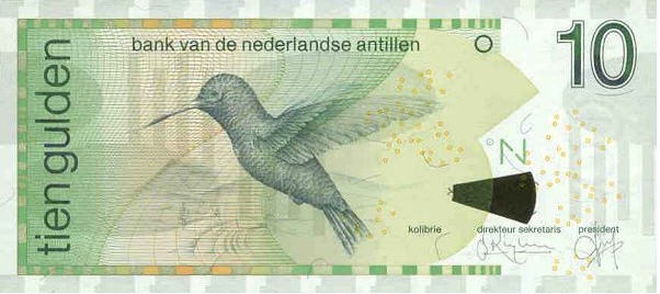 P28a Netherlands Antilles 10 Gulden Year 1998