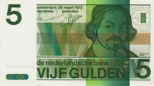 P 95 Netherlands 5 Guilders Year 1973