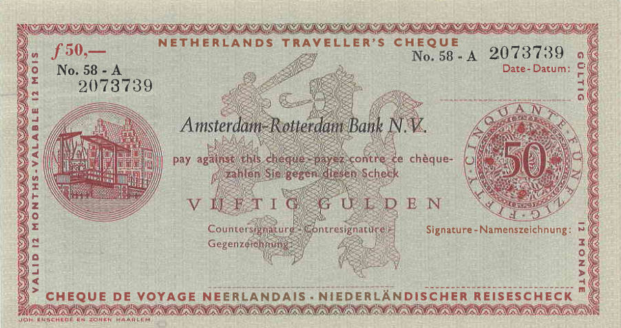 N.I.P. Netherlands Traveler Cheque AMRO Bank  50 Gulden