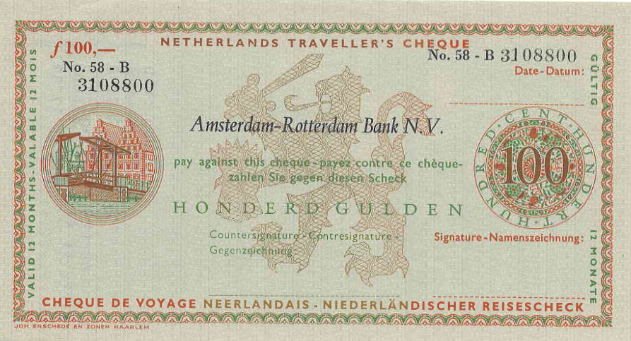 N.I.P. Netherlands Traveler Cheque AMRO Bank 100 Gulden