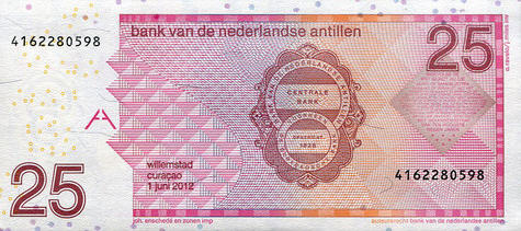 P29 Netherlands Antilles 25 Gulden Year 2014