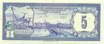 P15b Netherlands Antilles 5 Gulden Year 1984
