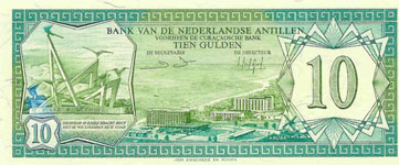 P16b Netherlands Antilles 10 Gulden Year 1984