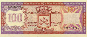 P19b Netherlands Antilles 100 Gulden Year 1981