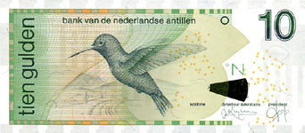 P28c Netherlands Antilles 10 Gulden Year 2003