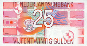 P100 Netherlands 25 Gulden Year 1989
