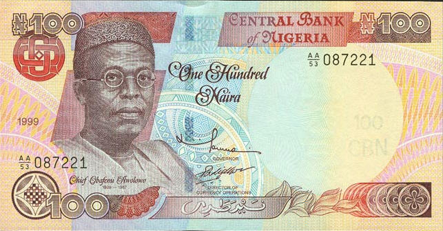 P28a Nigeria 100 Naira Year 1999 with Abuja