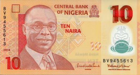 P39 Nigeria 10 Naira Year 2014 (New Date & Sign.
