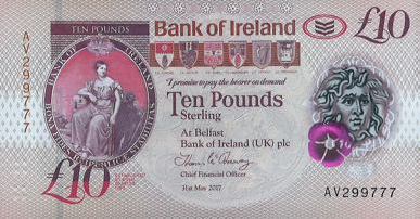 (360) ** PNew Northern Ireland 10 Pounds Year 2019 (Bank of Irel