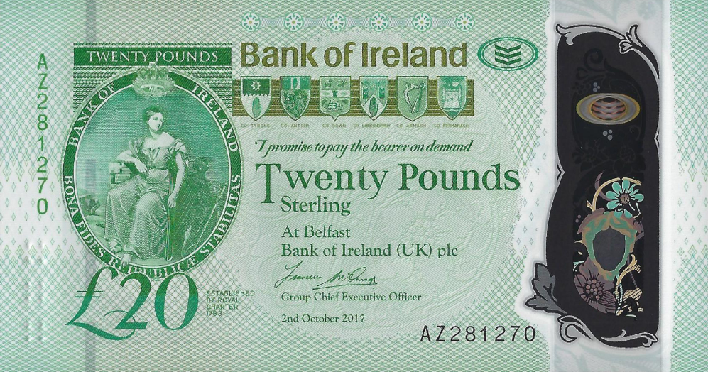 (161) ** PNew Northern Ireland 20 Pounds (Bank of Irel.) 2020