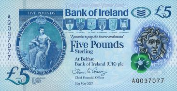 (359) ** PNew Northern Ireland 5 Pounds Year 2019 (Bank of Irela