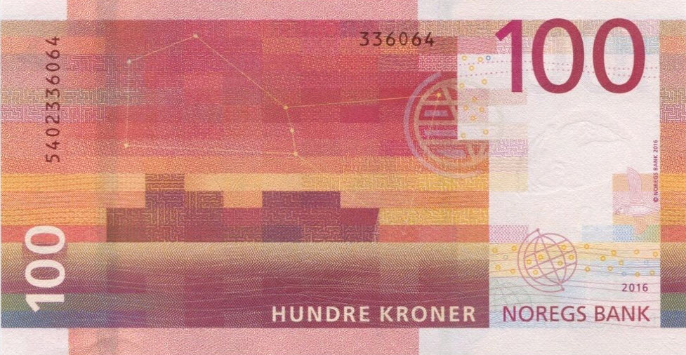 P54 Norway 100 Kronur Year 2016