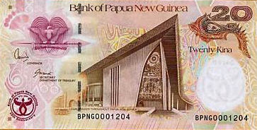 P36 Papua New Guinea 20 Kina 35th Ann. Year 2008