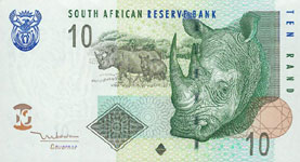 P128 South Africa   10 Rand Year 2005 Different Languages