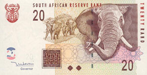 P129 South Africa   20 Rand Year 2005 Different Languages