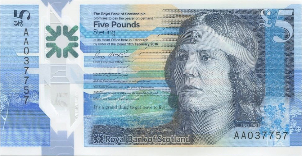 P370 Scotland 5 Pounds 2016 (Royal Bank of Scotl. Polymer)