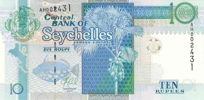 P36c Seychelles 10 Rupees Year 2013