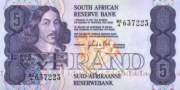 P119c South Africa 5 Rand Year ND
