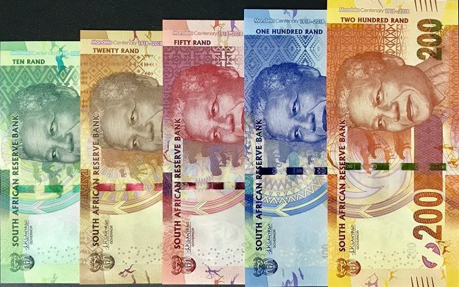 P143-P147 South Africa 10,20,50,100 & 200 Rand Year 2018
