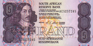 P119d South Africa 5 Rand Year nd