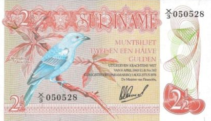 P118b Surinam 2,5 Gulden Year 1978