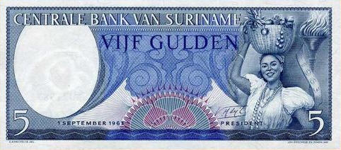 P120b Surinam 5 Gulden Year 1963