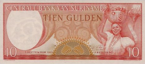 P121b Surinam 10 Gulden Year 1963