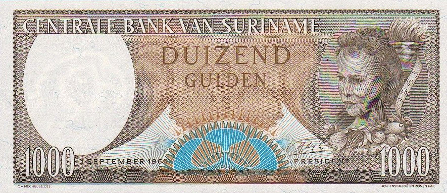 P124 Surinam 1000 Gulden Year 1963
