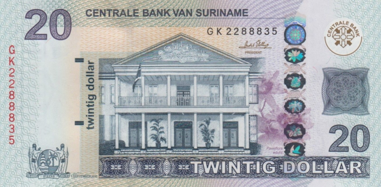 P164 Surinam 20 Dollars Year 2010