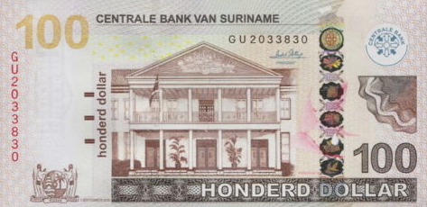 P166 Surinam 100 Dollars Year 2010
