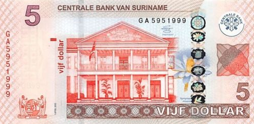 P162c Surinam 5 Dollars Year 2012