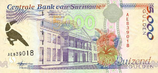 P143b Surinam 5000 Gulden Year 1999