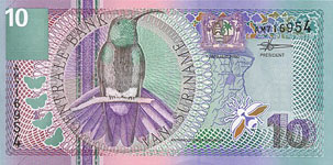 P147 Surinam 10 Gulden Year 2000