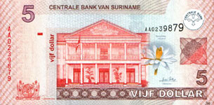 P157 Surinam   5 Dollar Year 2004