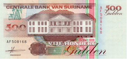 P140 Surinam 500 Gulden Year 1991