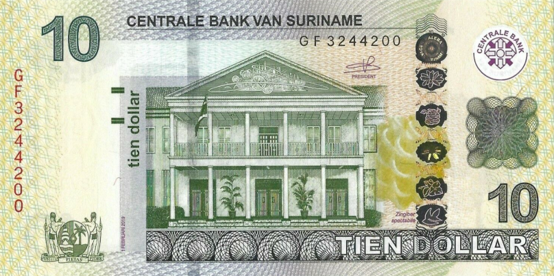 (160) ** PNew Surinam 10 Dollar Year 2019