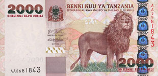 P37a Tanzania 2000 Shillings Year nd