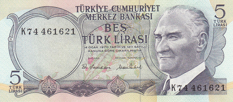 P185 Turkey 5 Lirasi Year 1976