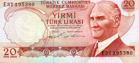 P187a Turkey 20 Lira Year nd