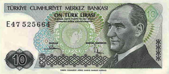 P192 Turkey 10 Lira Year 1979