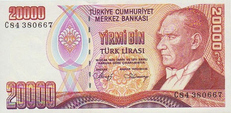 P201 Turkey 20.000 Lira Year nd