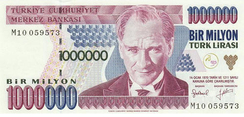 P209 Turkey 1.000.000 Lira Year nd