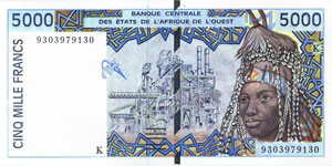 P713k Senegal W.A.S. K 5000 Francs Year 2002