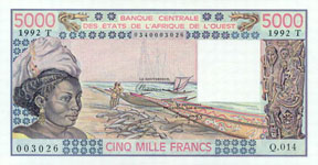 P808t Togo W.A.S. T 5000 Francs Year 1992